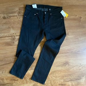 Black button fly skinny jean